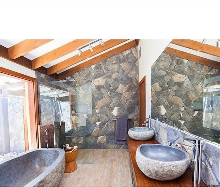 Arctic Bluestone feature wall bathroom