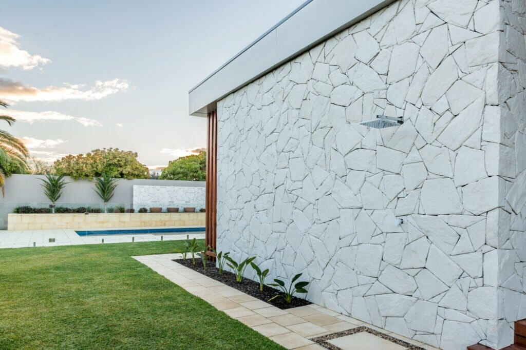 Arctic Limestone feature wall pure white