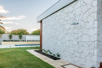 Arctic Limestone feature wall - outdoor living
