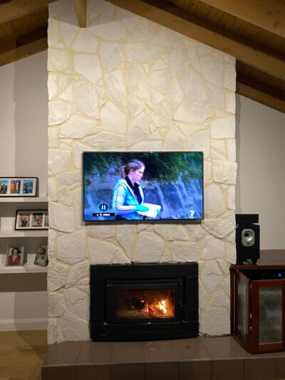 Arctic Limestone Fireplace grouted