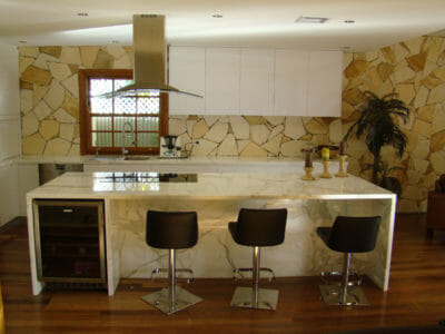 Arctic Sandstone feature wall kitchen
