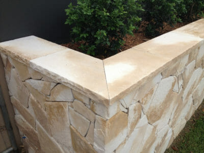 Arctic Sandstone retaining wall capping corners