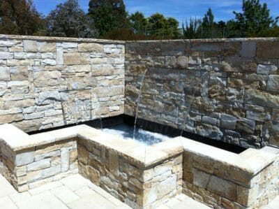 Dry Stacked Natural Grey water feature wall