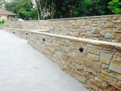 Dry Stacked Natural Grey retaining wall