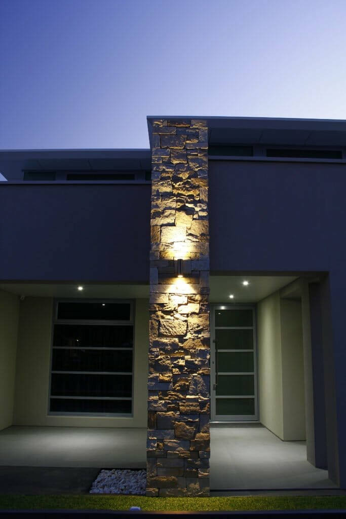 Dry Stacked Natural Grey blade feature wall