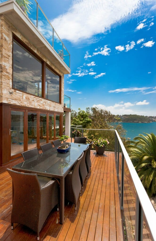Dry Stacked Sandstone building facade outdoor living