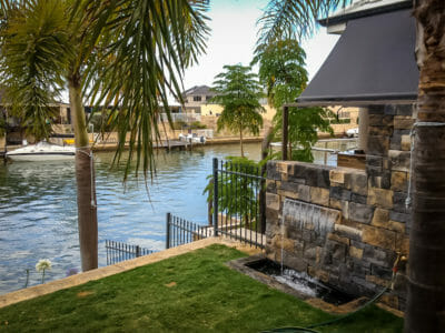 Dry stack Bluestone water feature wall
