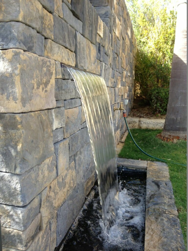 Dry Stacked Bluestone water feature wall