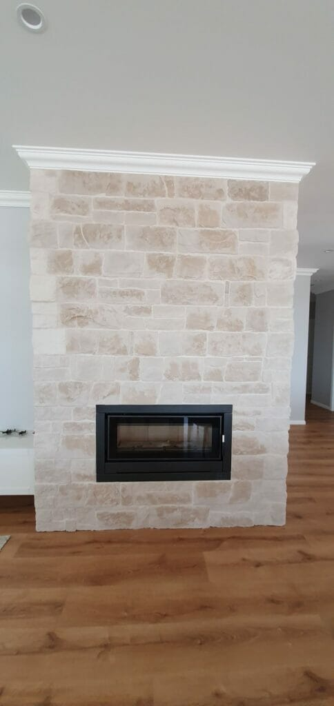 Dry Stacked Travertine Fireplace