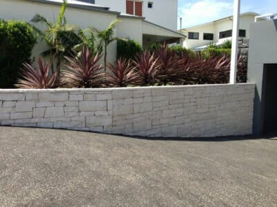 Dry Stacked Limestone retaining wall