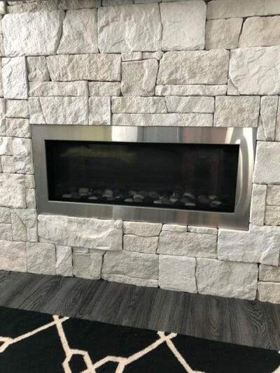 Dry stack Limestone fireplace
