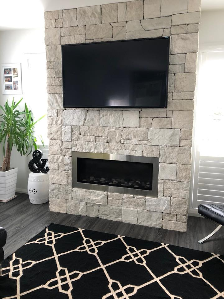Dry Stacked Limestone fireplace