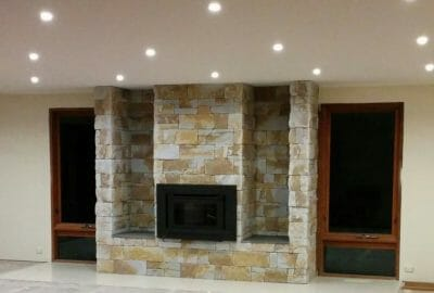 Dry Stacked Natural Grey fireplace feature wall