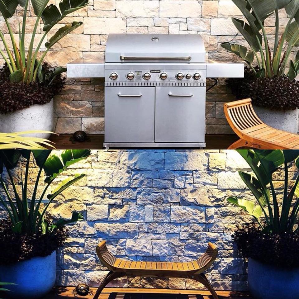 Drystack Natural Grey feature wall outdoor living