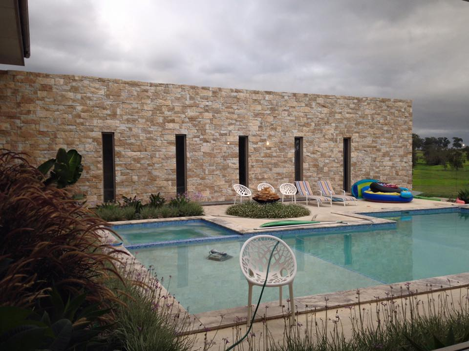 Dry Stacked Natural Grey feature wall pool