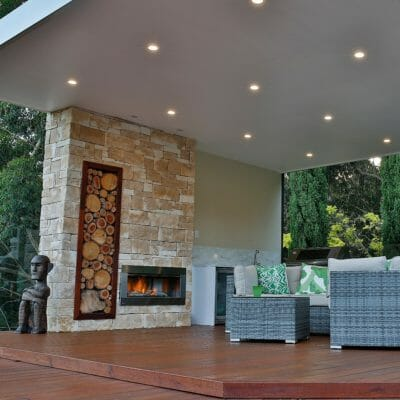 Dry Stacked Sandstone fireplace outdoor living