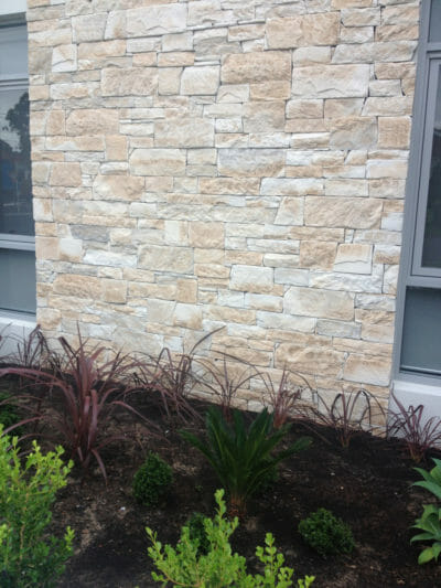 Dry Stacked Travertine facade