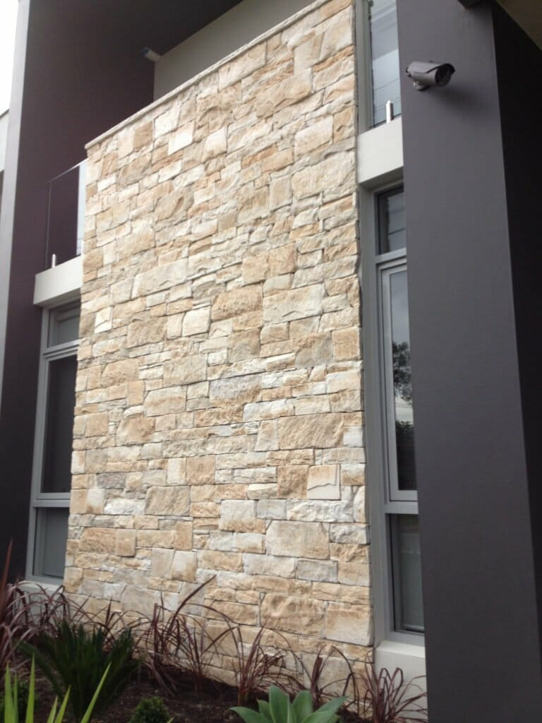 Dry Stacked Travertine building facade