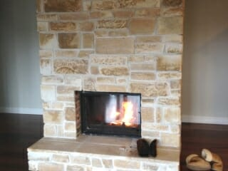 Dry Stacked Sandstone fireplace pointed