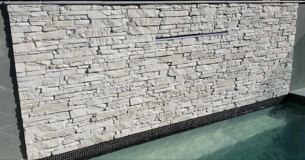 Ledgestone water feature wall