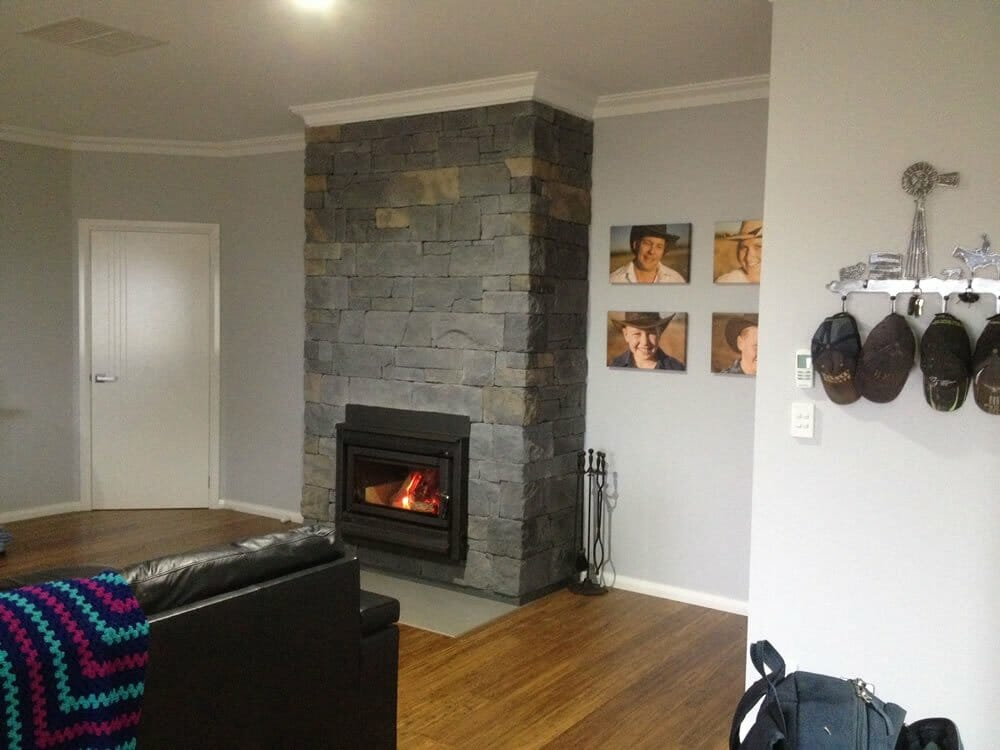 Dry Stacked Slate fireplace