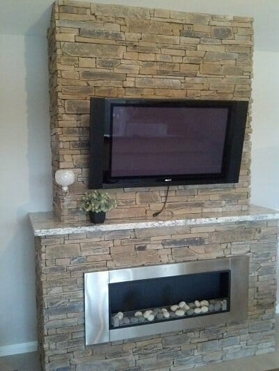 Ledgestone Earth fireplace