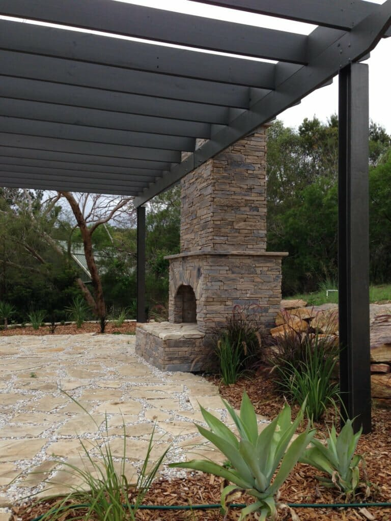 Ledgestone Earth fireplace outdoor living