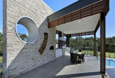 ledgestone natural grey outdoor living feature wall
