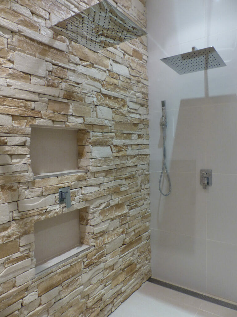 Ledgestone Sandstone feature wall bathroom