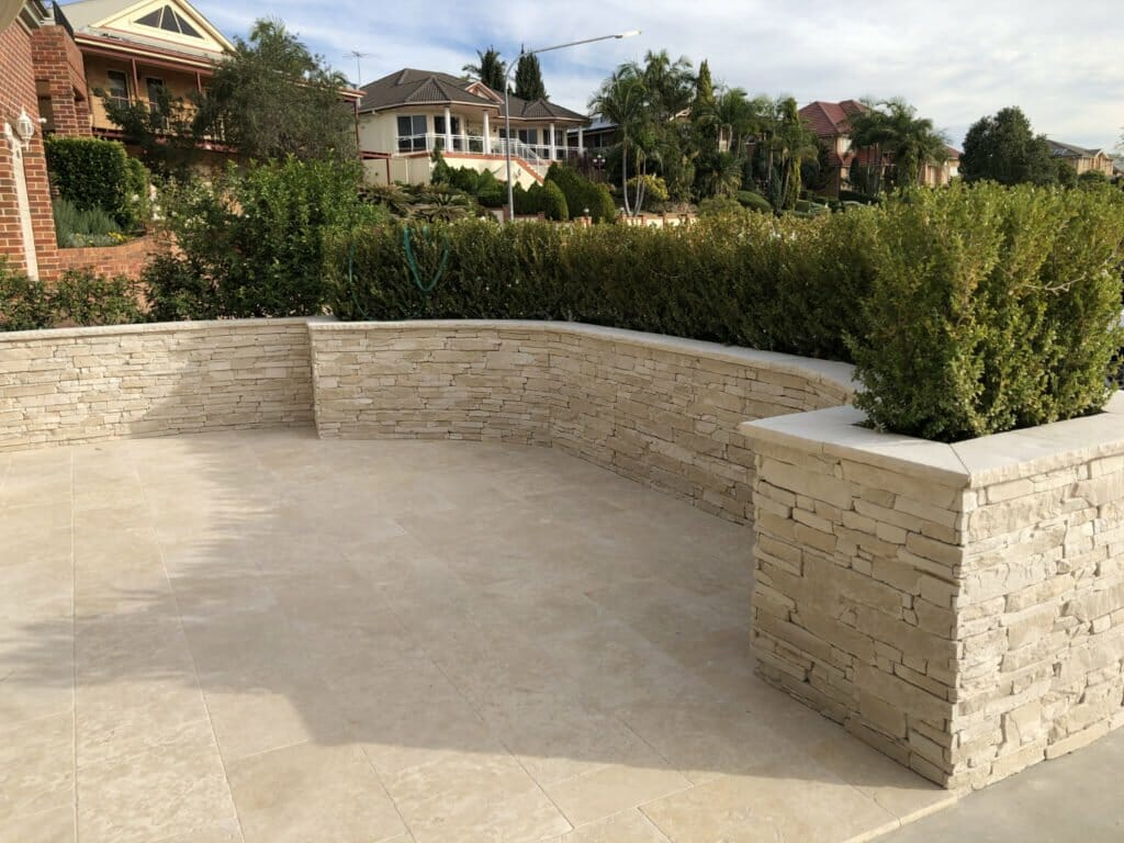 Ledgestone Travertine retaining wall