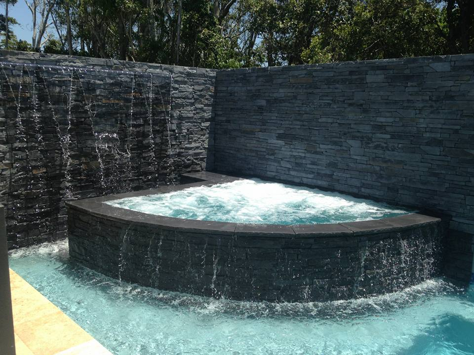 Ledgestone Slate water feature spa bath