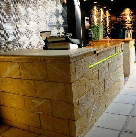 WA Limestone feature wall bar surround