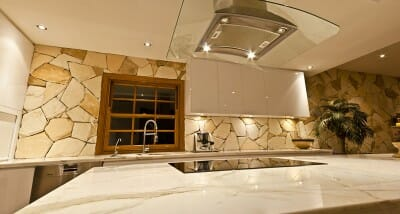 arctic-sandstone-kitchen feature wall