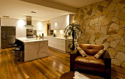 arctic sandstone lounge room feature wall