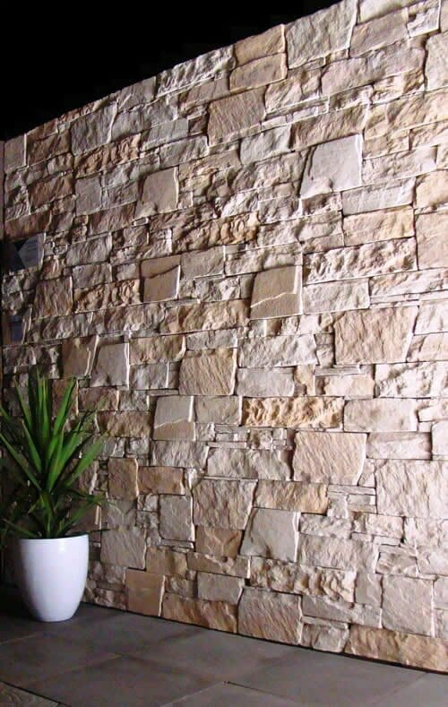 Dry Stacked Limestone feature wall