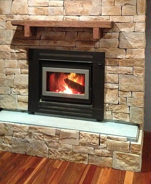 Dry Stacked Sandstone fireplace