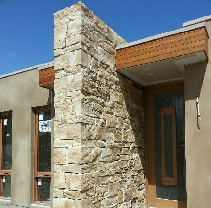 Dry Stacked Sandstone blade feature wall