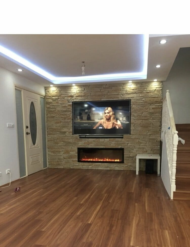 Ledgestone Sandstone fireplace feature wall tv area