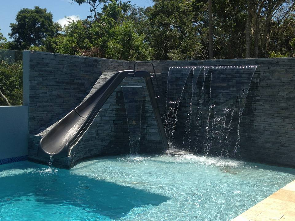 Ledgestone Slate pool area slide feature wall