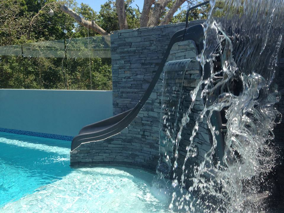 Ledgestone Slate pool area slide