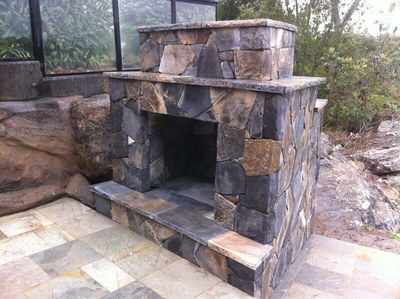 Arctic Bluestone fireplace outdoor