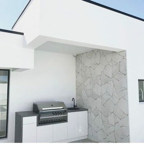 Arctic Limestone feature wall outdoor kitchen