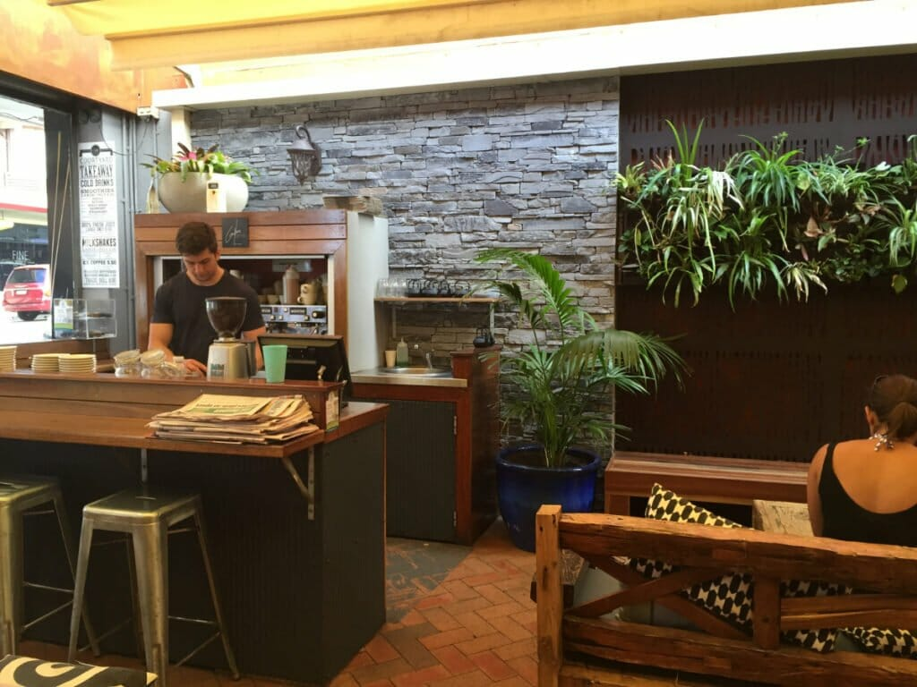 Ledgestone Slate feature wall cafe