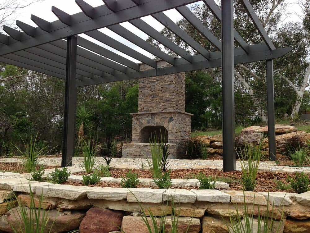Ledgestone Earth fireplace outdoor