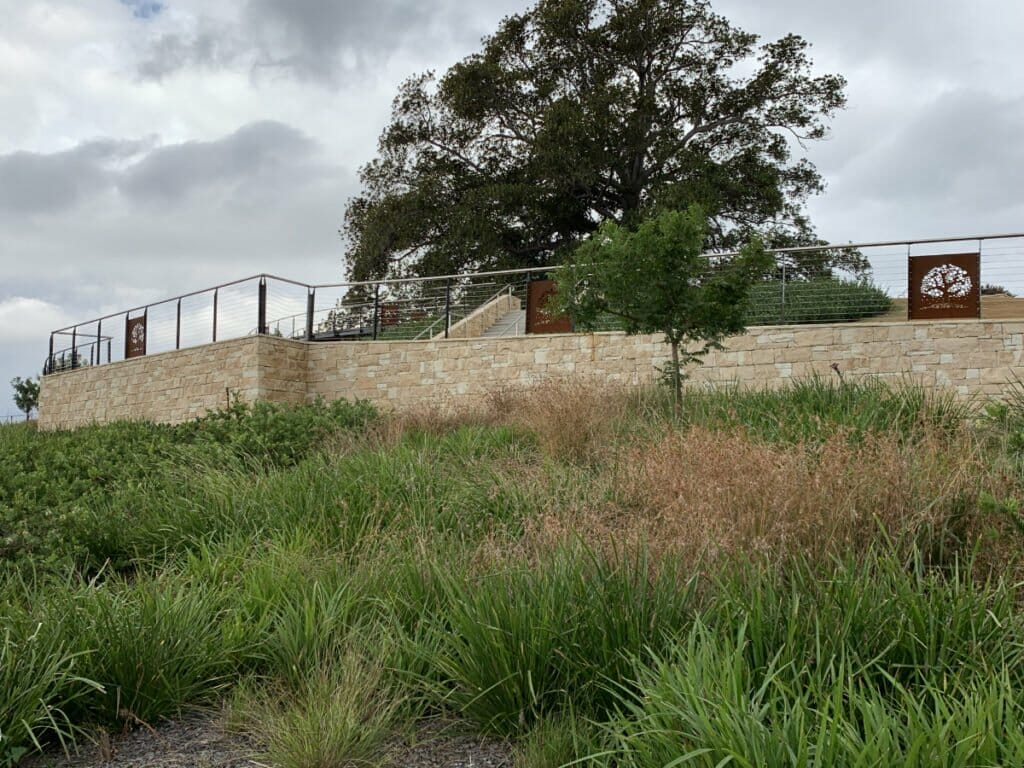 Dry Stacked Travertine housing estate retaining walls